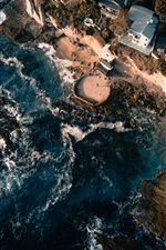 Preview iPhone wallpaper Sea, coast, buildings, houses, top view