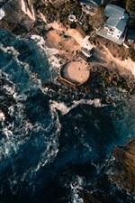 iPhone壁紙のプレビュー 海、海岸、建物、家、上面図
