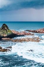 iPhone fondos de pantalla Mar, isla, piedras, olas, espuma