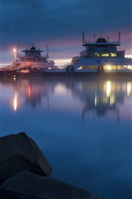 Preview iPhone wallpaper Sea, night, ship, dock, lights