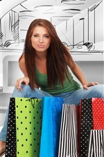 Preview iPhone wallpaper Shopping girl, colorful bags