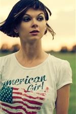 Preview iPhone wallpaper Short hair girl, grass, dusk