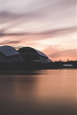 Preview iPhone wallpaper Singapore, National Stadium, dusk, sea, sunset