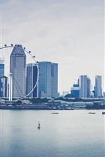 Preview iPhone wallpaper Singapore, city, skyscrapers, river, bridge, boats, ferris wheel