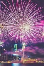 미리보기 iPhone 배경 화면 싱가포르, 대도시, 고층 빌딩, 밤, 불꽃 놀이, 강, 조명