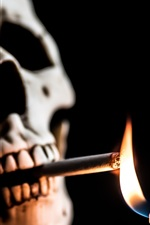 Preview iPhone wallpaper Skull, cigarette, fire, lighter