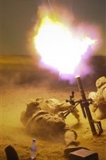 Preview iPhone wallpaper Soldiers, mortar shot, army, weapon