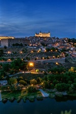 Spain, Toledo, architecture, city, night, river, trees, lights
