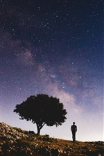 Preview iPhone wallpaper Starry, silhouette, tree, slope, man