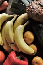Preview iPhone wallpaper Still life, bananas, tomatoes, oranges, vegetables