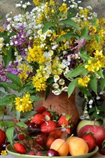 Preview iPhone wallpaper Still life, many kinds fruits, flowers