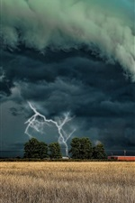 Preview iPhone wallpaper Storm, tornado, lightning, dark clouds, field