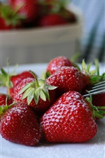 Preview iPhone wallpaper Strawberry, sugar, fork, fruit