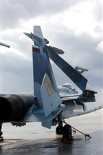 Preview iPhone wallpaper Su-33 fighter takeoff, clouds