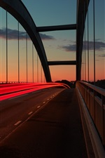 Preview iPhone wallpaper Sunset, bridge, light lines