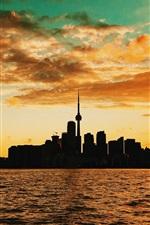 Sunset, sea, buildings, clouds, Toronto, Canada