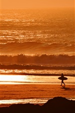 Preview iPhone wallpaper Sunset, sea, waves, beach, surfer