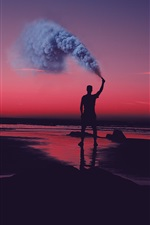 Sunset, shore, sea, man, smoke