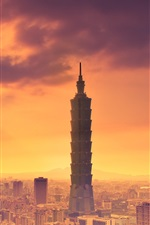 Preview iPhone wallpaper Taipei, Taiwan, Taipei 101 building, dusk, city