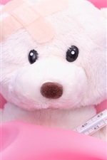 Preview iPhone wallpaper Teddy bear, sick, bed, toy