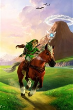 Preview iPhone wallpaper The Legend of Zelda, horse, grass, sunlight