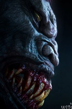 Preview iPhone wallpaper The Witcher, face to monster