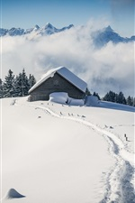 Preview iPhone wallpaper Thick snow, hut, fog, mountains, winter