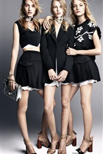 Preview iPhone wallpaper Three girls, fashion dress