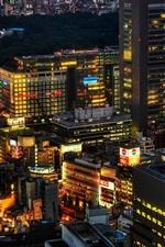 Preview iPhone wallpaper Tokyo, Japan, city night, skyscrapers, lights