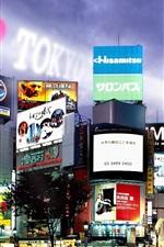Preview iPhone wallpaper Tokyo, street, advertising, buildings, night, lights, Japan
