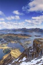 iPhone fondos de pantalla Vista superior, ciudad, islas, mar, nubes, cielo azul