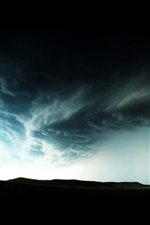 Preview iPhone wallpaper Tornado, black clouds, danger weather