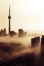 Preview iPhone wallpaper Toronto, Canada, city, buildings, tower, dusk