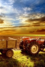 Preview iPhone wallpaper Tractor, fields, grass, sky, clouds, sunset