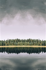 Preview iPhone wallpaper Trees, lake, water reflection, nature landscape