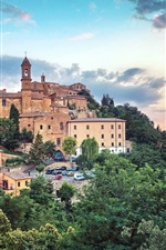 Preview iPhone wallpaper Tuscany, Italy, city, houses, trees, dusk