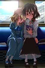 Two anime girls in train