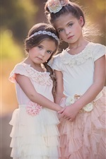 Preview iPhone wallpaper Two lovely little girls, cute child