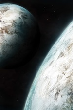 Preview iPhone wallpaper Two planets, beautiful space