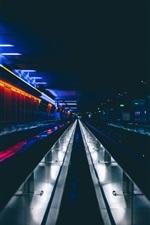 Preview iPhone wallpaper Underground tunnel, dark, lights