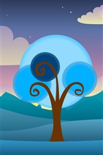 Preview iPhone wallpaper Vector tree, clouds, sky