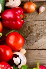 Preview iPhone wallpaper Vegetables, mushrooms, peppers, tomatoes, spoons, wood board