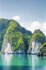 Preview iPhone wallpaper Vietnam, Halong Bay, mountains, sea, blue sky