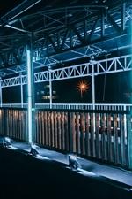 Vietnã, ponte, iluminação, noite