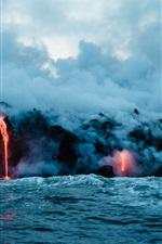 Volcano lava, sea, smoke, nature landscape