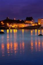 Wales, Tenby, bay, houses, boats, sea, night, lights