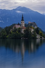 Preview iPhone wallpaper Welcome to Slovenia, island, church, lake, dusk