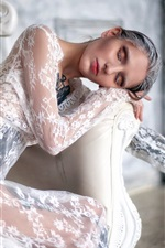 Preview iPhone wallpaper White lace dress girl, chair, makeup, tattoo