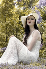 Preview iPhone wallpaper White skirt girl, hat, flowers