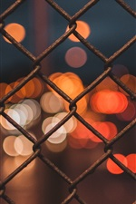 Preview iPhone wallpaper Wire fence, glare, night